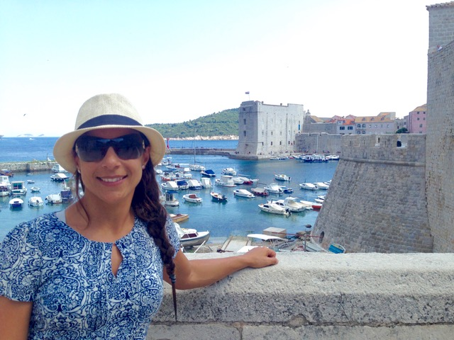 Woman living on a cruise ship and traveling in Dubrovnik