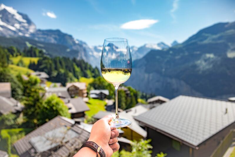 Glass of white wine with hills, mountains in the background