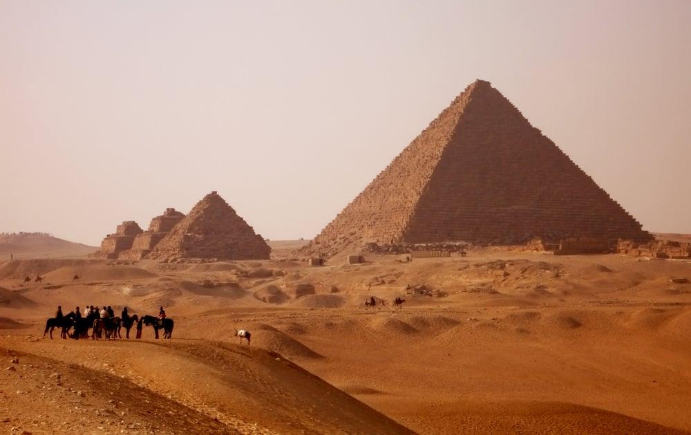 gizah pyramids in Egypt near Cairo at sunset