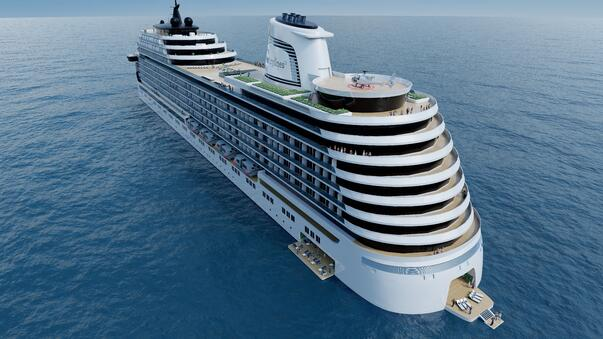 All-inclusive cruise ship you can live on, aft view.