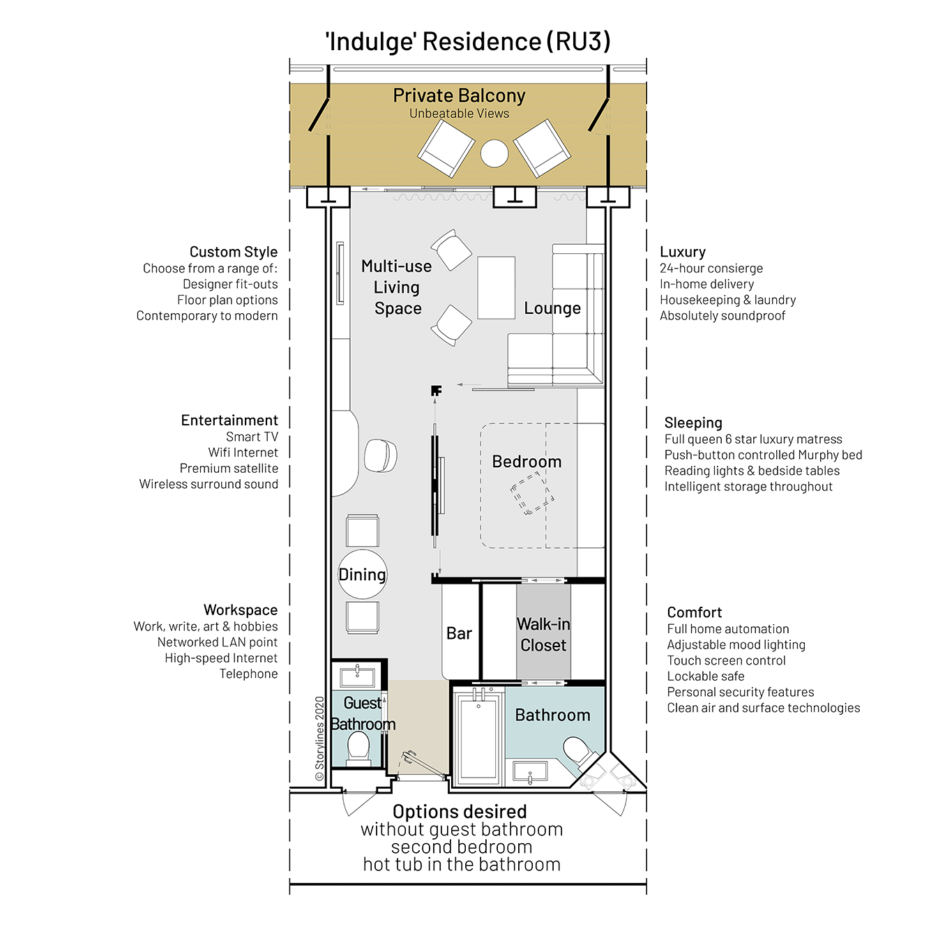 Floor plan of condo on a ship showing the layout of the furniture, rooms and balcony
